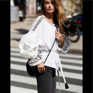 Free People Oversized On Holiday Top Embroidered S